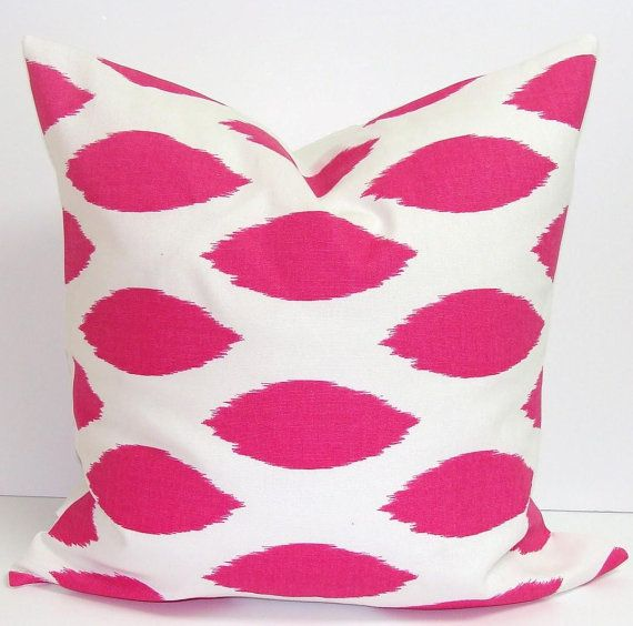 PINK PILLOW SALE..Hot Pink.20x20 inch Decorator Pillow Cover.Printed Fabric Front and Back.Bright Pink Pillow.Ikat.Spots on Etsy, $13.00