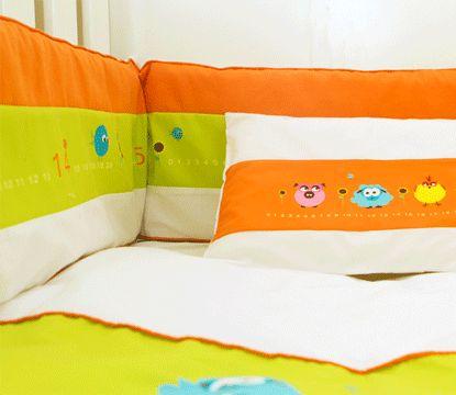 Counting Pigs Linen #boy#girl#linen#nursery#ideas#orange#crib#bedding#pigs#cute#colourful