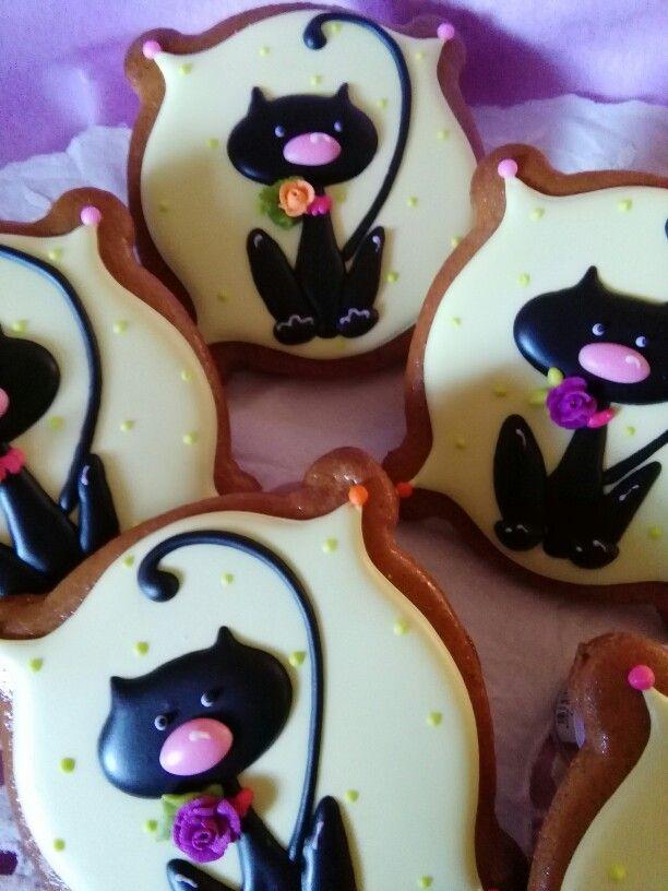 Halloween Cats Decorated Cookies Gingerbread Galletas