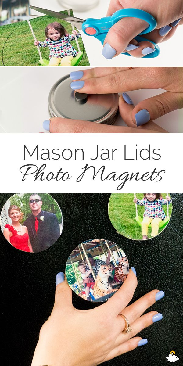 Put Those Mason Jar Lids To Good Use With This Creative DIY Photo Magnet Project