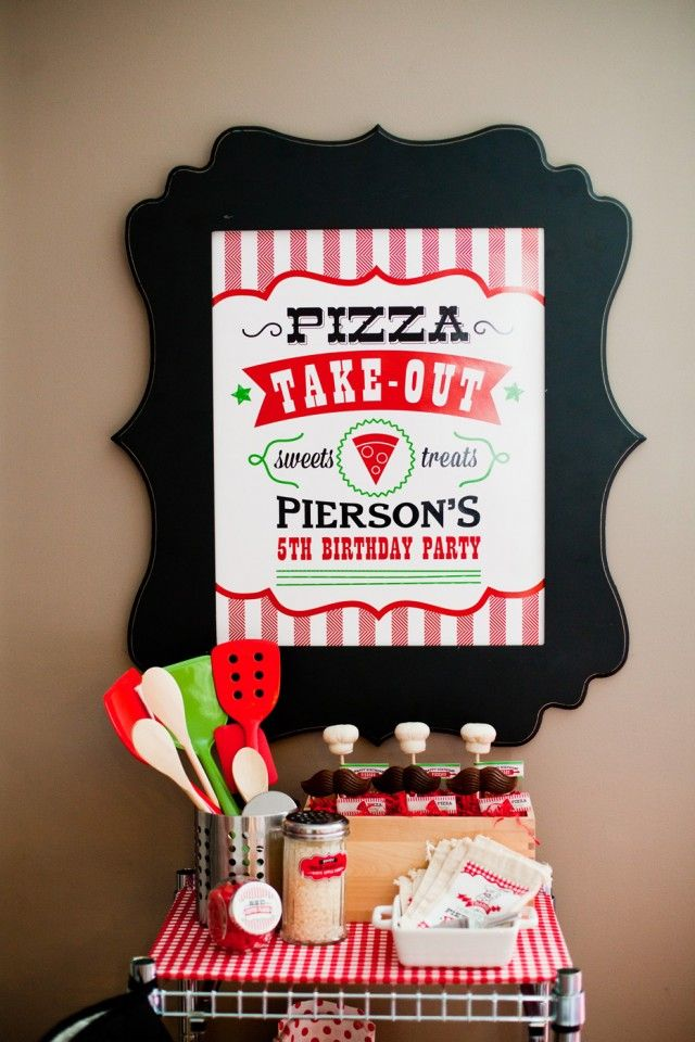"Pizza Party ""Pizza Take Out"" Favor station!  Anders Ruff"