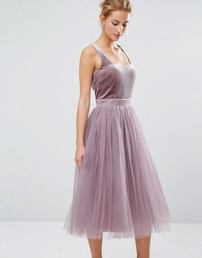Little Mistress Tulle Midi Dress with Velvet Bodice