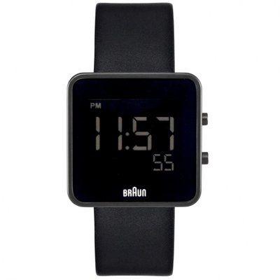 Watch Braun Gents Digital Matt Black 12/24 hr Black Leather Strap