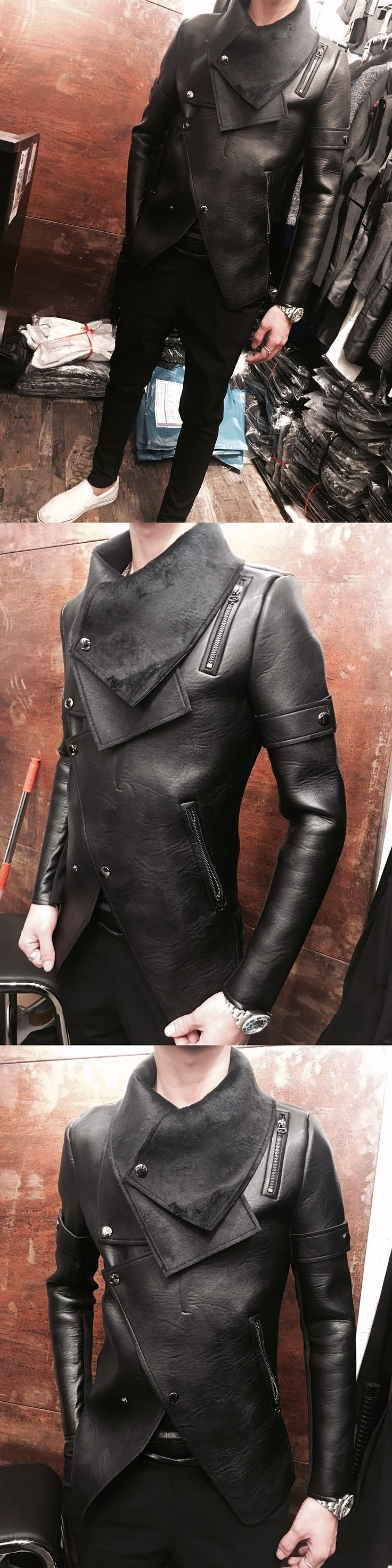 S-2XL!!Plus velvet thermal male leather clothing male slim personalized motorcycle rivet outerwear