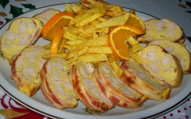 Őzgerincben sült csirke
