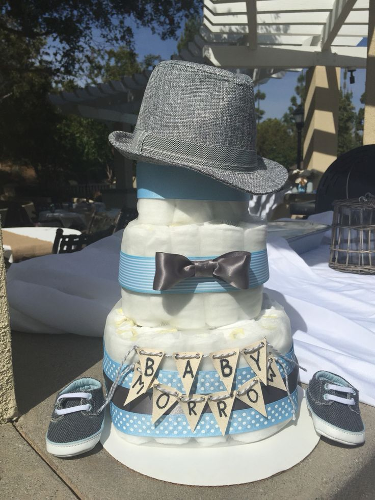 Little Man Bow Tie Fedora Blue and Grey diaper cake for baby shower