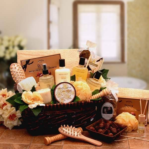 Spa Therapy Relaxation Gift Hamper  http://basketsformymom.com/  Our Spa Therapy Relaxation Gift is infused with Vanilla. A gift that surrounds the body in an intoxicating essence that's exotic, delicate, and thoroughly romantic.