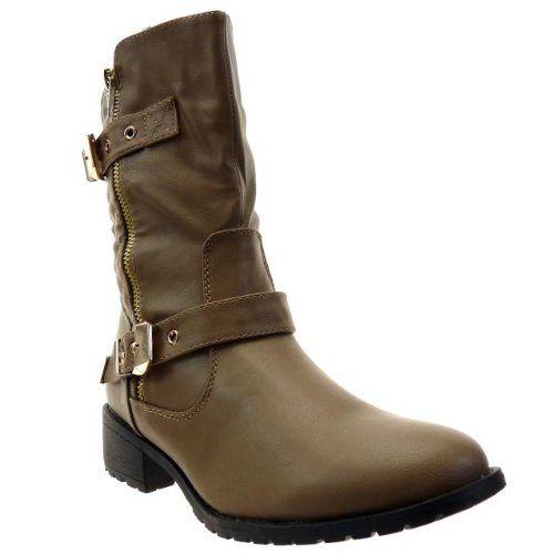 In Offerta! #Offerte Abbigliamento#Buoni Regalo   #Outlet Kickly - Scarpe da Moda Stivaletti - Stivali Scarponi al polpaccio donna cavalier trapuntato - biker Tacco a blocco 3.5 CM - Taupe disponibile su Kellie Shop. Scarpe, borse, accessori, intimo, gioielli e molto altro.. scopri migliaia di articoli firmati con prezzi da 15,00 a 299,00 euro! #kellieshop #borse #scarpe #saldi #abbigliamento #donna #regali