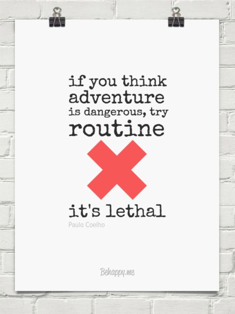 If you think  adventure  is dangerous, try routine  it's lethal by Paulo Coelho #23115