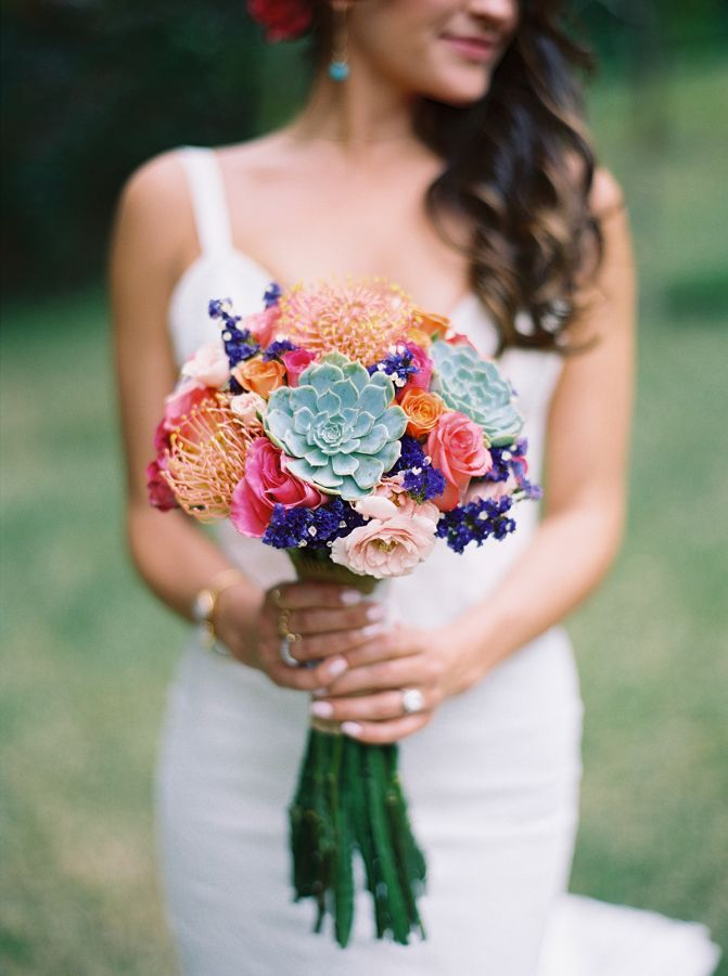 Colorful succulent bouquet: http://www.stylemepretty.com/destination-weddings/2015/10/06/vibrant-romantic-mexico-destination-wedding/   Photography: Jillian Mitchell - http://jillianmitchell.net/: