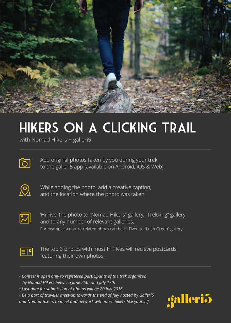 Add original photos taken by you during your trek to the galleri5 app and the top 3 photos with most hi fives will receive postcards, featuring their photos! https://galleri5.com/