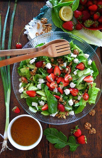 Strawberry Salad With Honey Dressing - shewandersshefinds.com ==