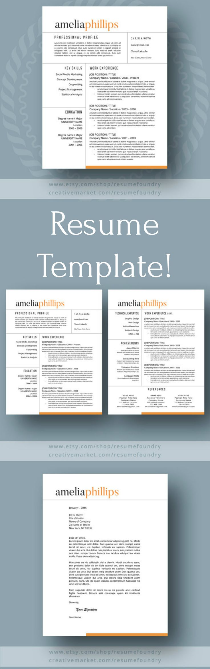 Complete And Stylish Resume Template To Help You Get That Perfect Job!!  This Professionally