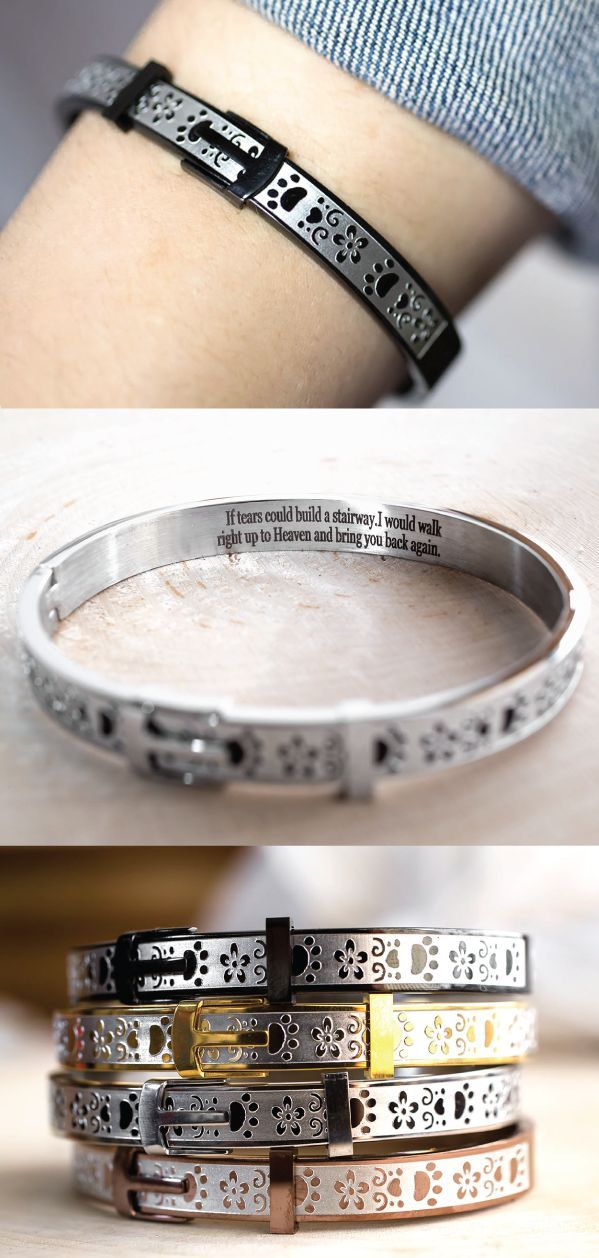 Keep the memories of your beloved pet close with this shining tribute. Fashioned to resemble a collar with buckle accents, and patterned with paw prints, hearts, and flowers, it's a small memento of the friend that will always be with you in spirit.