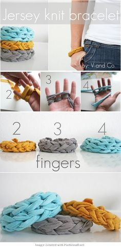 DIY Jersey Knit Finger Woven Bracelet Tutorial using old upcycled tshirts.  I would so throw some beads in randomly.