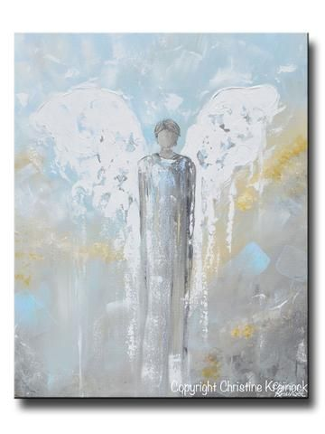 """ORIGINAL Abstract Angel Painting Male Guardian Angel Blue Gold Grey Home Decor Wall Art 30x24"""""""