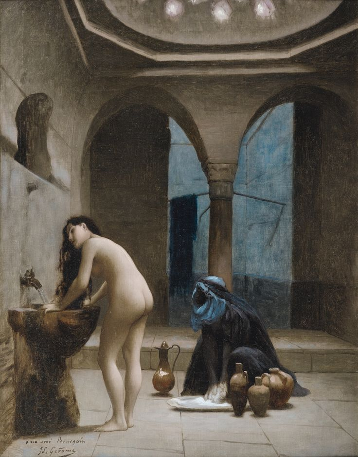Jean-Leon Gerome VESOUL 1824 - 1904 PARIS STUDY FOR A MOORISH BATH, TURKISH WOMAN IN BATH  JOHN LEON GÉRÔME; STUDY FOR A Moorish BATH, TURKISH WOMAN BATHING; SIGNED AND DEDICATED LOWER LEFT HIS FRIEND BOURGAIN GÉRÔME JL; OIL ON CANVAS Signed and dedicated lower left To his friend Bourgain JL Gérôme Oil on canvas  50.5 x 40.5 cm; 20 by 16 in: