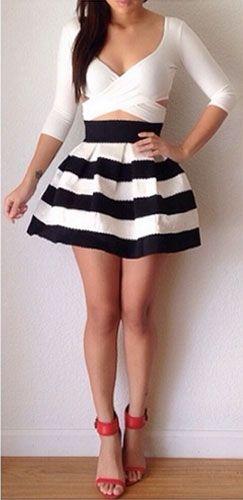 17 best Black White Skirt images on Pinterest