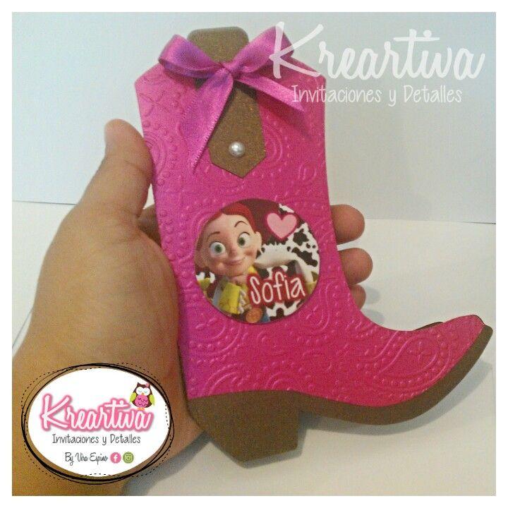 Invitaciones troqueladas y texturizadas de Jessy de Toy Story. Estamos en Reynosa, Tam., buscanos en Facebook: KreArtiva Invitaciones