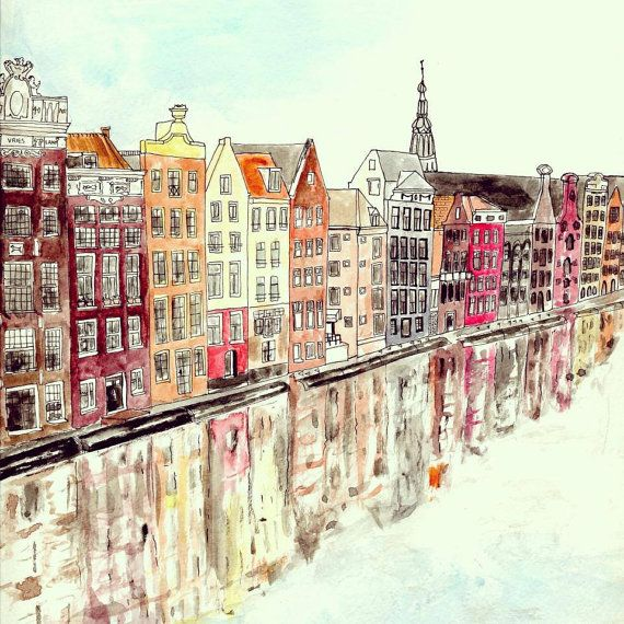 Amsterdam Houses Watercolour Art Print by IllustratedByRebecca