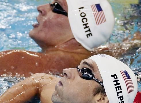 """Locte- """"did i lose again?""""  Phelps-""""on 3 trow your hands in the air and smack the Water 3,2*click*"""""""