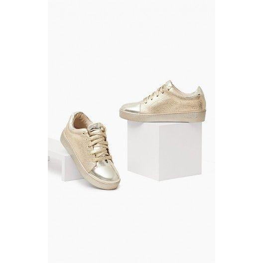 Športová obuv pre dámy v zlatej farbe - fashionday.eu