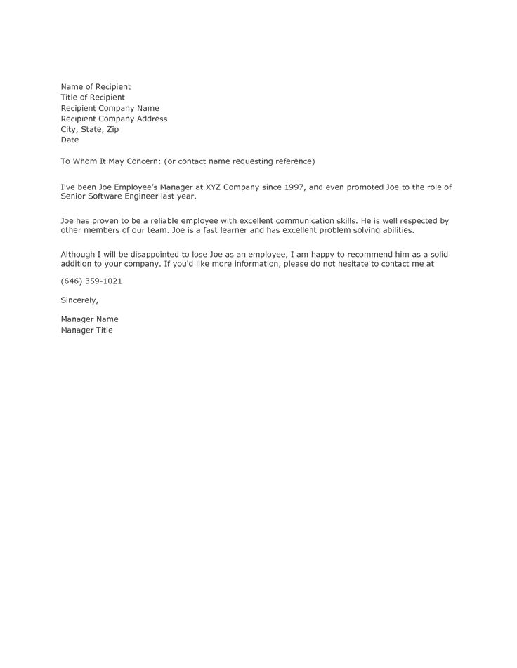 Request Letter Of Recommendation Template Employee Requesting