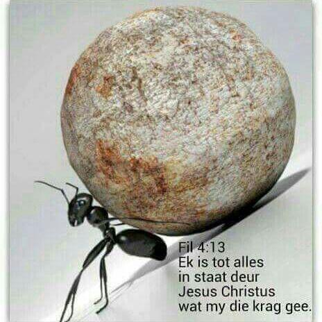 Ek is tot alles in staat deur Jesus Christus wat my die krag gee.