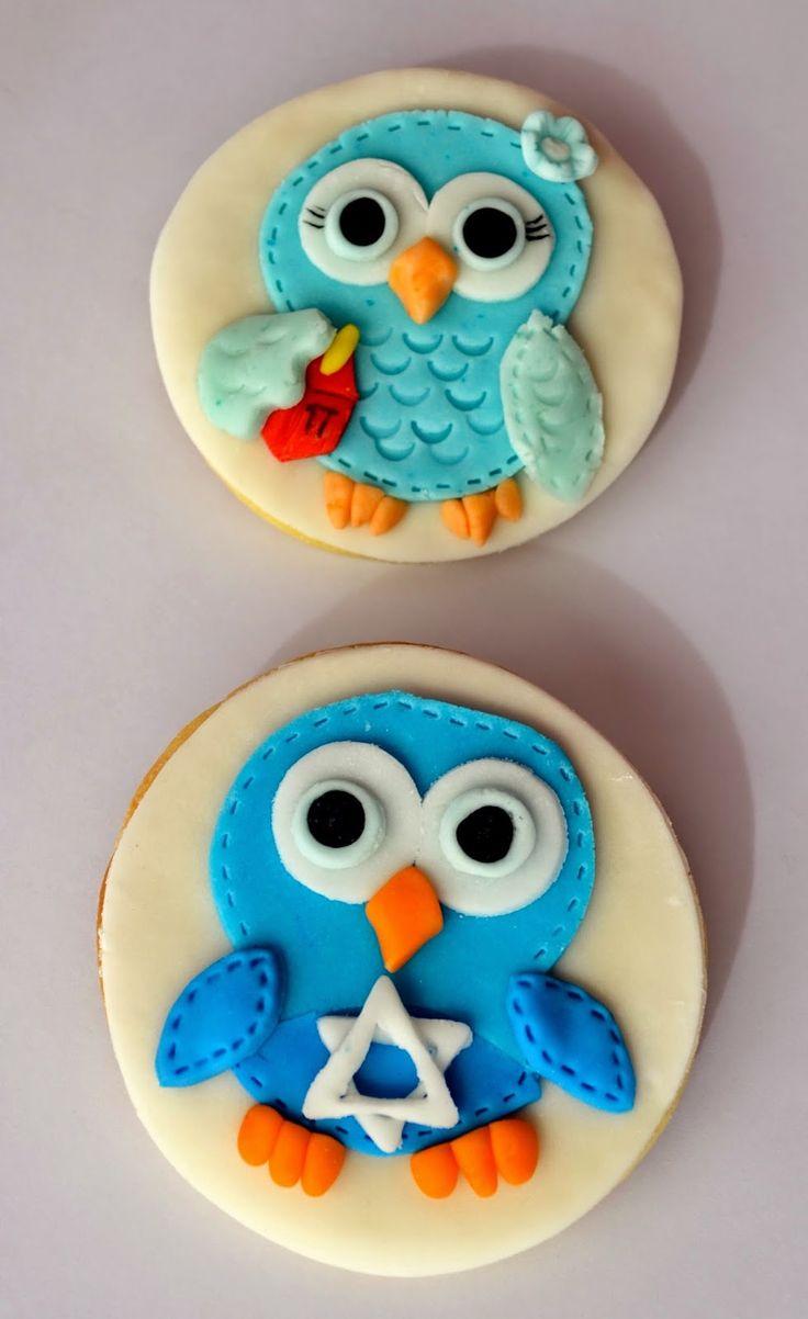 Hanukkah cookies, fondant, Owl, Star of David, Menorah, Chanukiah, Dreidel