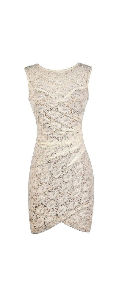 Fitted Lace Bodycon Dress With Crossover Hem in Ivory  www.lilyboutique.com