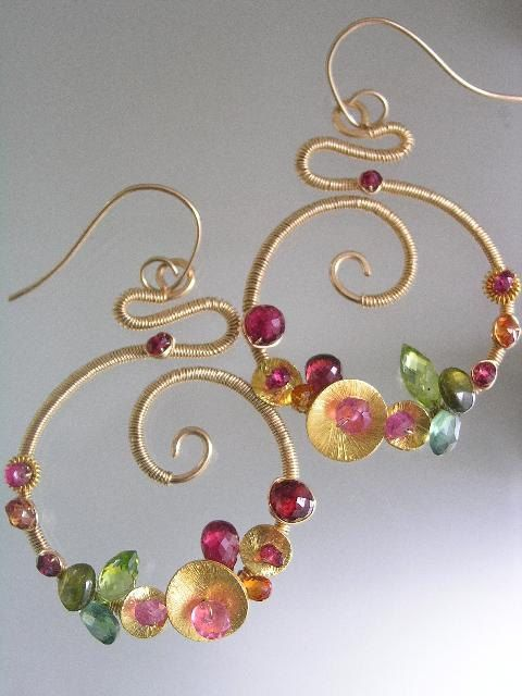Bombshells...Ruby Peridot Pink and Orange Sapphire Signature Original Gold Filled Scrolled Earrings. $168.00, via Etsy.