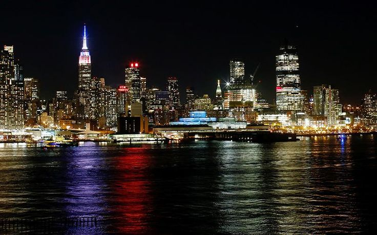 The Empire State Building in New York is lit in Red, White and Blue colours on Tuesday as seen from Weehawken, New Jersey, before the closing of polls in the US presidential election. Photo: AFP