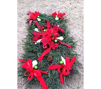 SF-100 grave blanket for loved one, christmas velvet bows, matte green balls, gold shimmer ornaments.