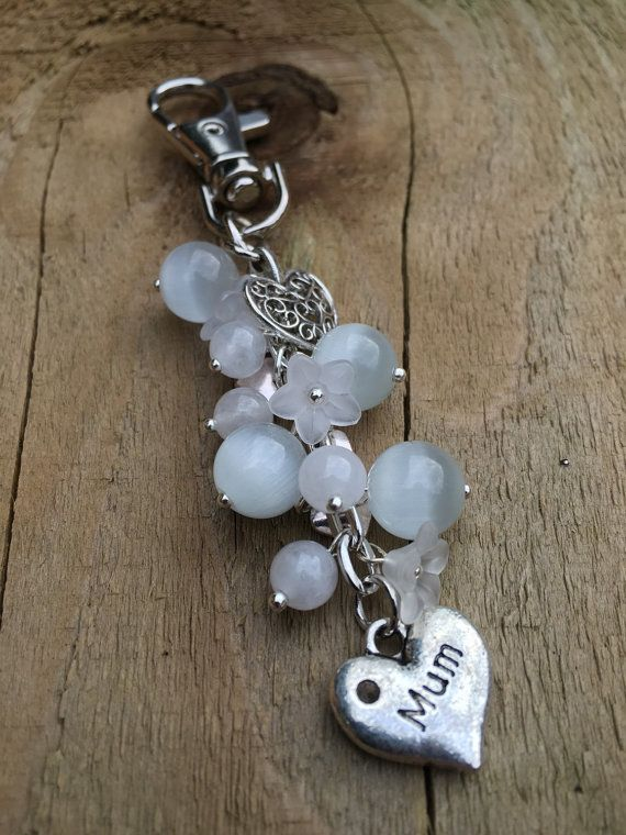 Mothers Day gift, Mum keyring, bag charm for mum, gift for mum, present for mum, beaded heart keyring, silver and white bag charm, mum charm