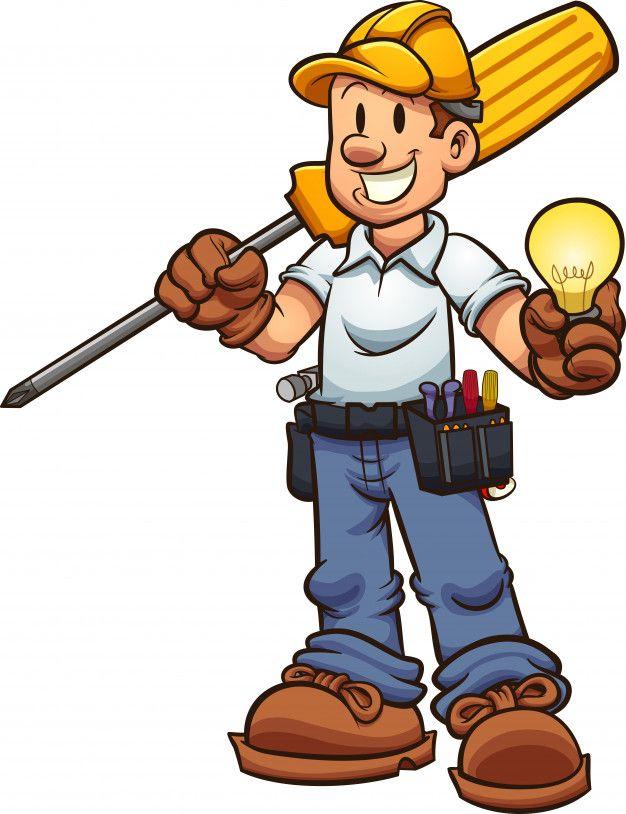 Eletricista Dos Desenhos Animados Desenhos De Profissoes