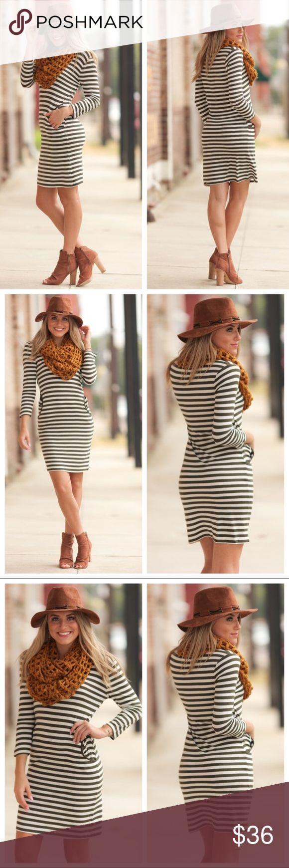"""Olive striped body-con dress NEW ARRIVAL Olive striped body-con Dress with pockets.  95% rayon 5% spandex   BUST: S-17"""", M-18"""", L-19"""".(armpit to armpit measurement)  LENGTH: S-35"""", M-36"""", L-37"""". Dresses"""