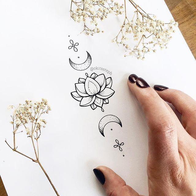 Lotus and moon tattoo