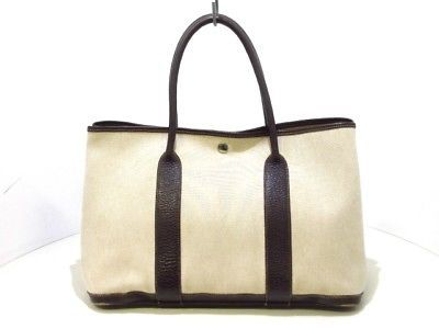 361329d3317b Auth HERMES Garden Party PM Ivory Dark Brown Toile H Leather Tote Bag  Square A