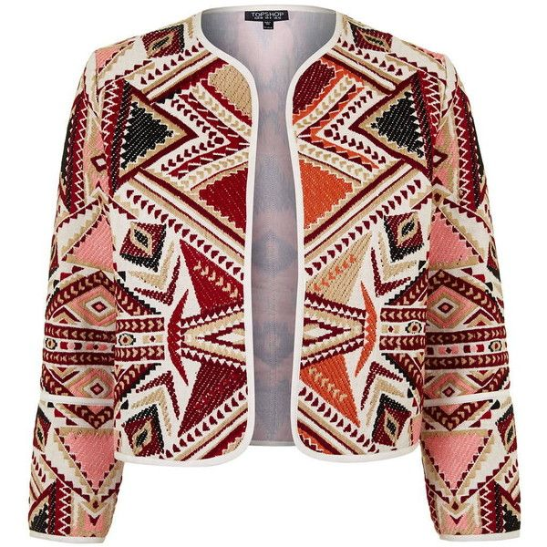 TopShop Embroidered Jacquard Jacket (£55) ❤ liked on Polyvore featuring outerwear, jackets, multi, red jacket, aztec jacket, topshop, embroidered jacket and embroidery jackets