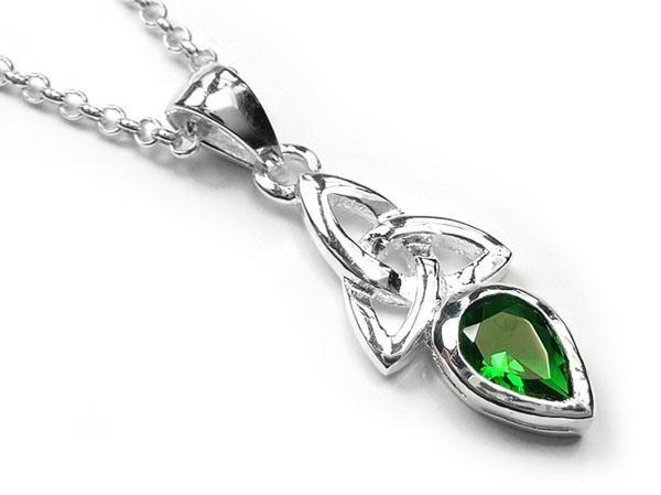 Silver Pendant - Celtic Trinity Emerald