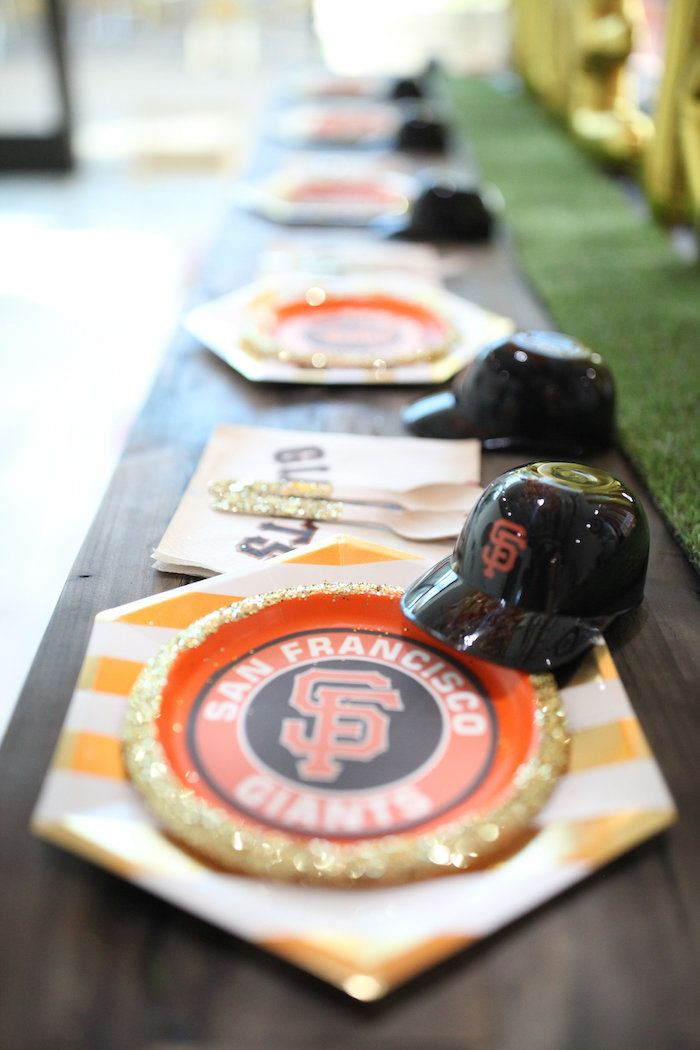 SF Giants Table Setting Partyware From A San Francisco Baseball Birthday Party On Karas Ideas