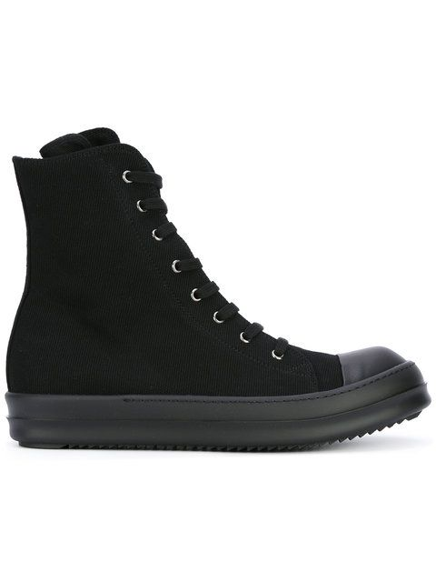 RICK OWENS DRKSHDW lace-up high-top sneakers. #rickowensdrkshdw #shoes #flats