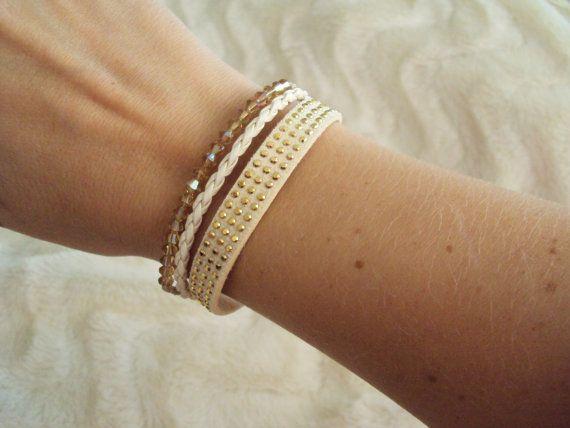 Modern Leather bracelet with golden Swarovski crystals