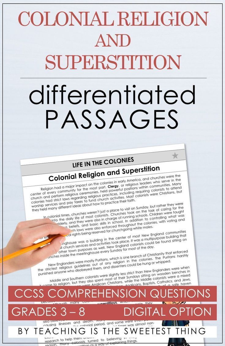 Life In The Colonies Passages Differentiated Instruction
