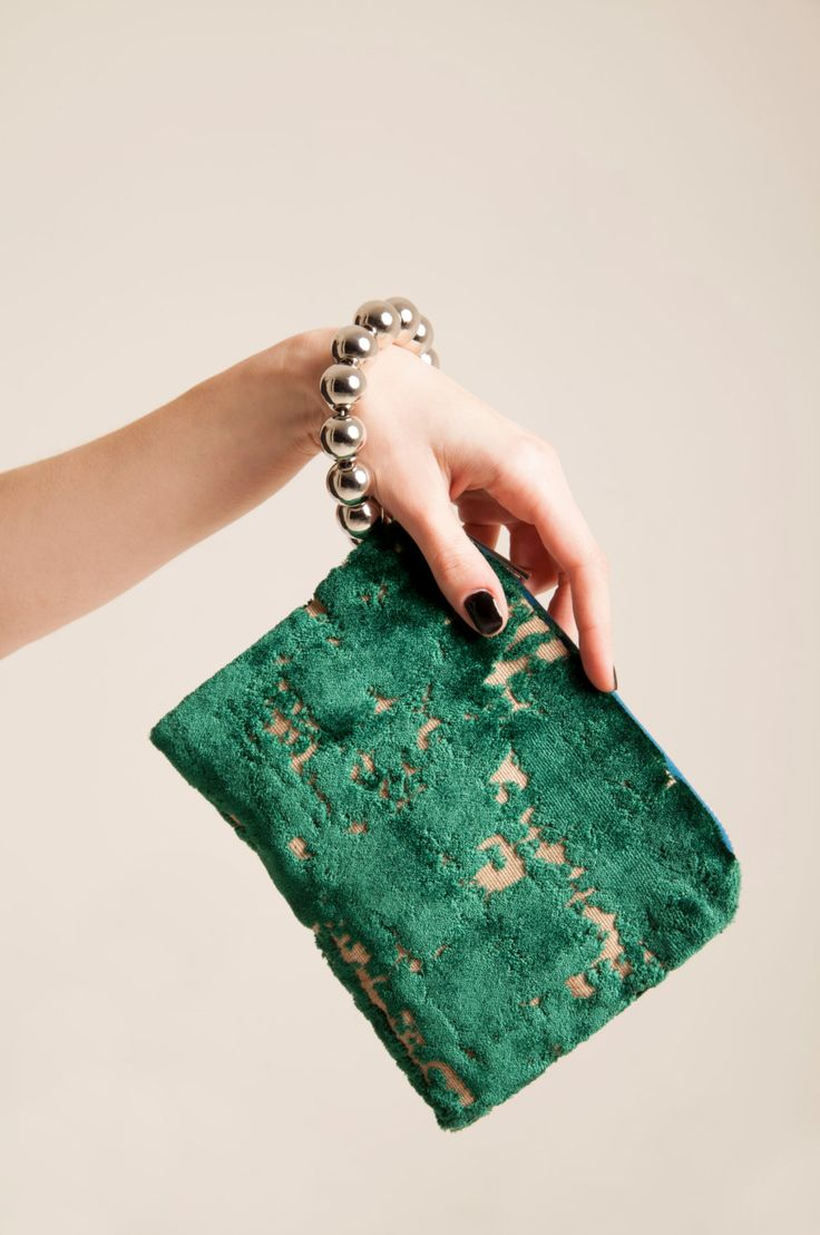 Slouchy wristlet bag clutch emerald green & beige beaded wrist strap adds jewelry-like, evening party purse luxurios italian velvet by vquadroitaly on Etsy