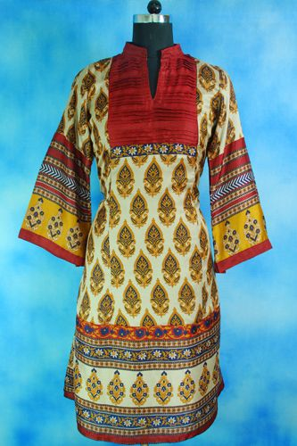 Silken printed long kurti, Long sleeves, Anarkali style, Faux Silk, Pleated front and back- Maroon yoke.