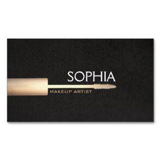 Makeup Artist Logo Mascara On Faux Black Linen 2 Business Card