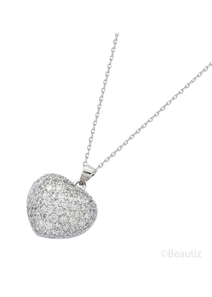White Heart Silver Necklace by Beautiz