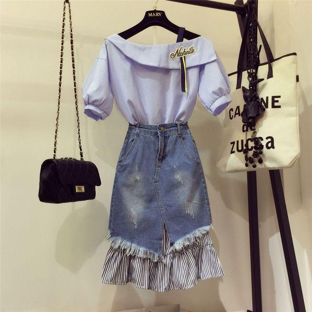 2017 Wakacyjnej damska Niebieskie Pasy Haftowane Bluzki Koszula + Przeszycia Denim Długa Spódnica 2 Sztuk Panie Dżinsy Spódnicy garnitury