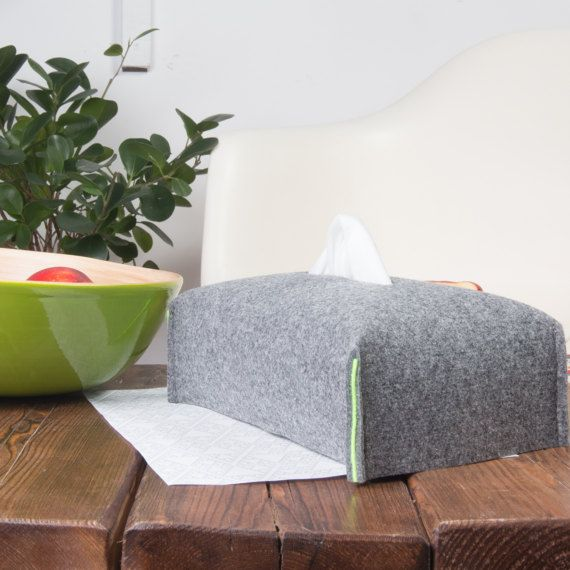 Light Grey Rectangle Tissue Box Cover Kleenex box holder by POPEQ